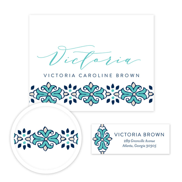 Tile Border Stationery Set - Small