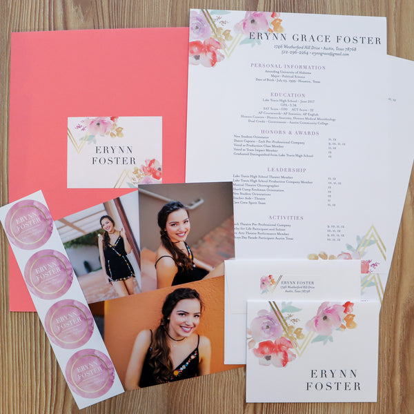 Geometric Bouquet sorority packet shown with Coral Pocket Folder