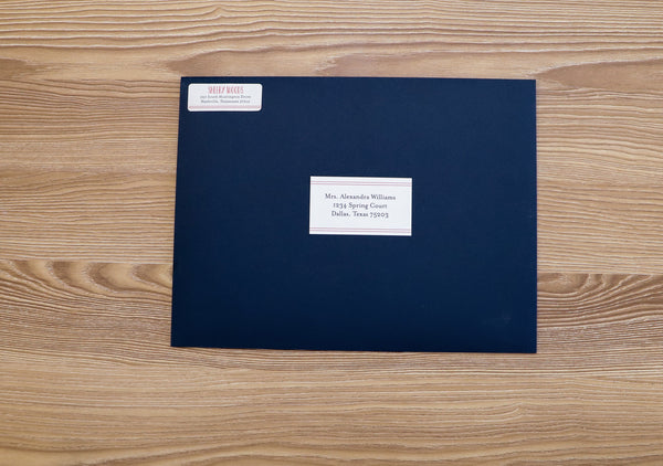 Simply Preppy mailing label on Night presentation envelope