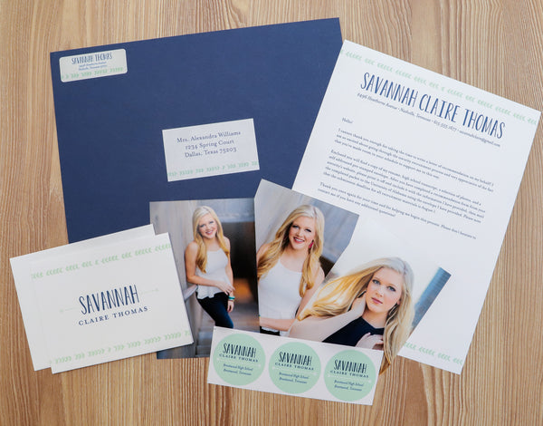 Boho Chic sorority packet shown with Night presentation envelope