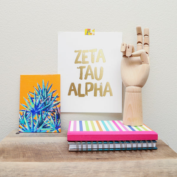 Gold Foil Zeta Tau Alpha on Display