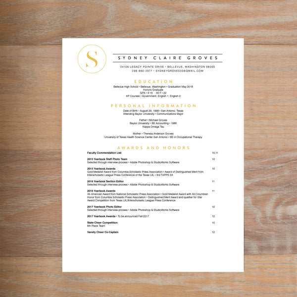 Simply Modern Initial social resume letterhead with full formatting shown in Curry