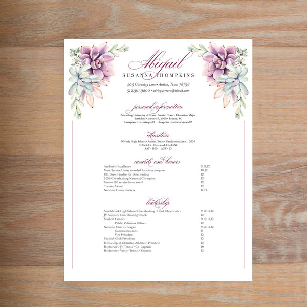 Soft Succulents social resume letterhead with full formatting in Wine & Black