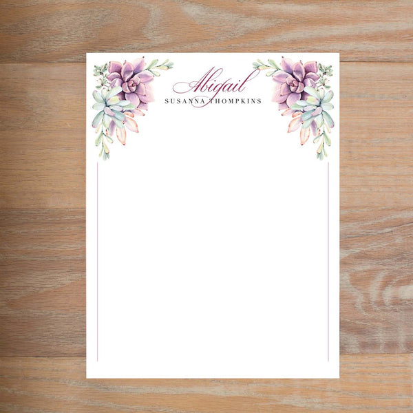 Soft Succulents social resume letterhead without formatting in Wine & Black version 2