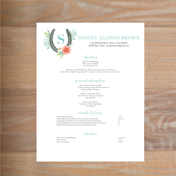 Sweet Horseshoe resume shown with full formatting