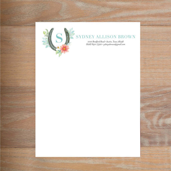 Sweet Horseshoe social resume letterhead without formatting shown in Pool