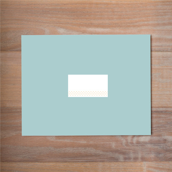 Sweet Monogram mailing label shown in Sorbet on Pool presentation envelope