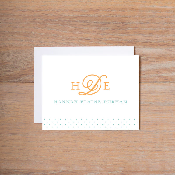 Sweet Monogram personal note card shown in Sorbet & Pool
