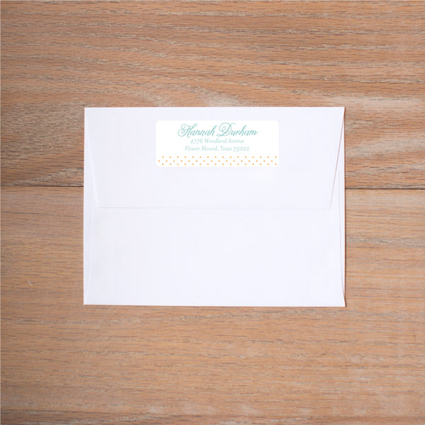 Sweet Monogram Return (Home) Address Labels shown in Sorbet & Pool