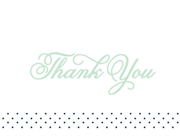 Sweet Monogram generic thank you cards in Mint Night