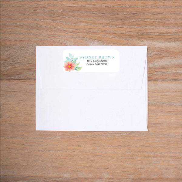 Sweet Horseshoe mailing label shown on Blossom presentation envelope (not included in price but available as an add-on to your purchase)