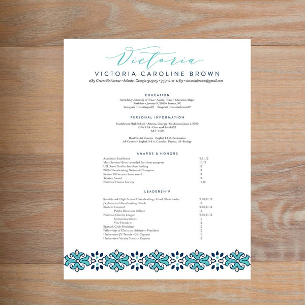 Tile Border social resume letterhead with full formatting shown in Tiffany & Night
