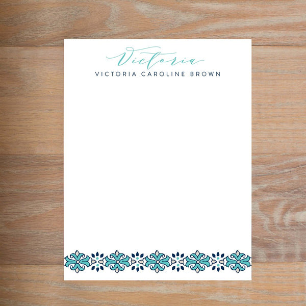 Tile Border social resume letterhead without formatting shown in Tiffany & Night version 2