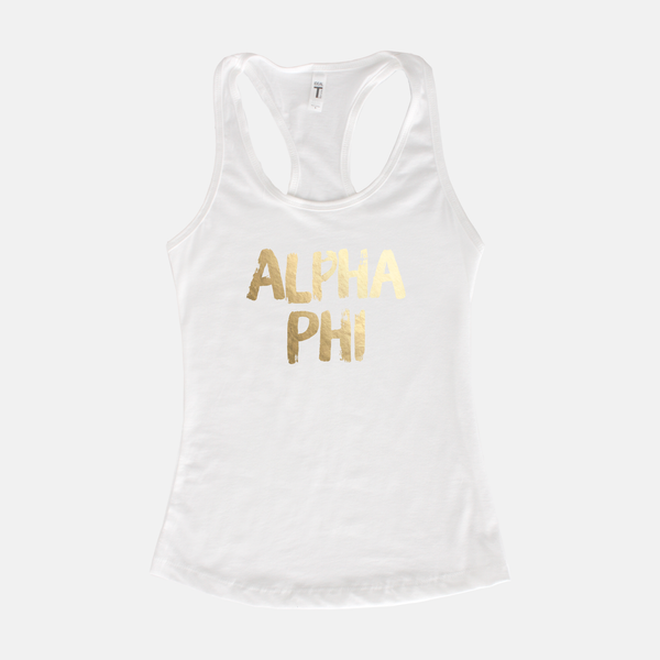 Alpha Phi Gold Foil Sorority Tank