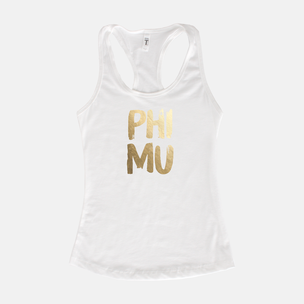 Phi Mu Gold Foil Sorority Tank