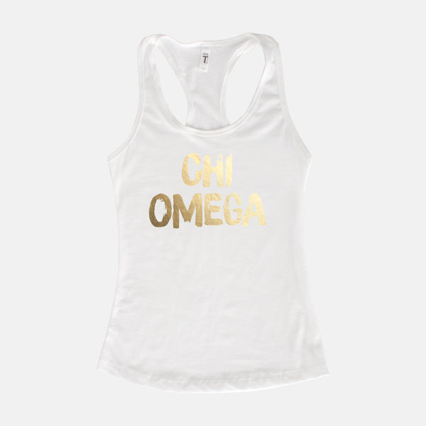 White tank with gold foil lettering