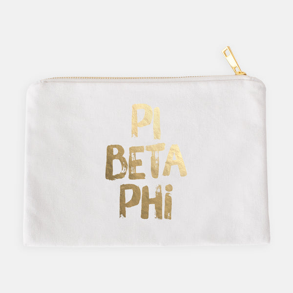 White makeup bag with gold foil lettering