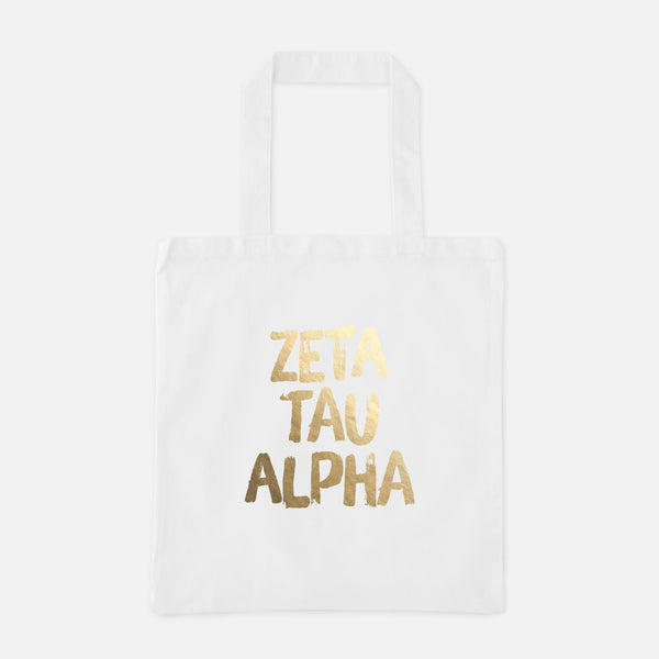 Zeta Tau Alpha Gold Foil Greek Tote