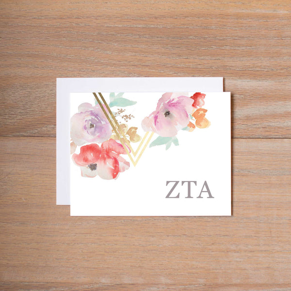 Zeta Tau Alpha Geometric Bouquet Sorority Note Cards