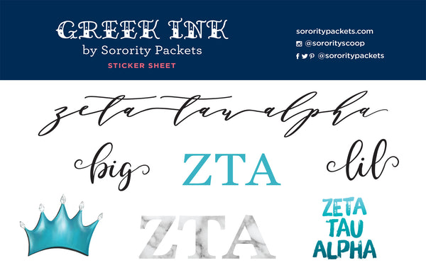 Zeta Tau Alpha Sticker Set