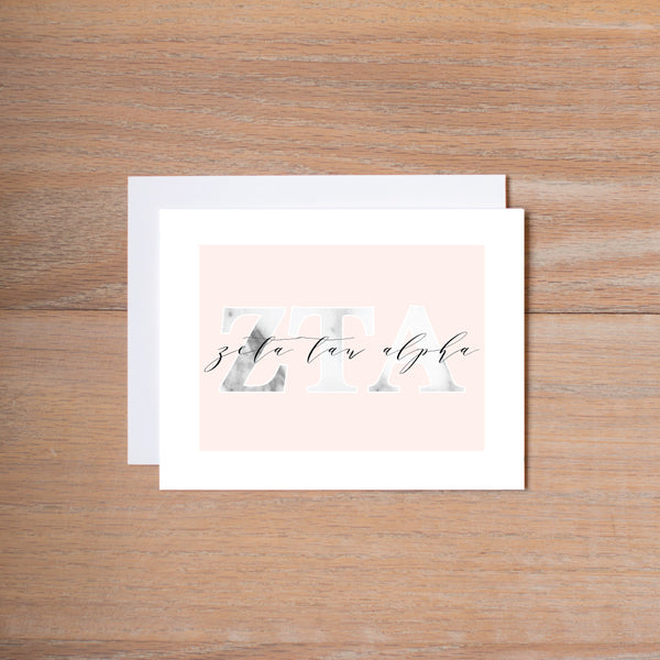 Zeta Tau Alpha Sorority Note Cards in Marble and Blush