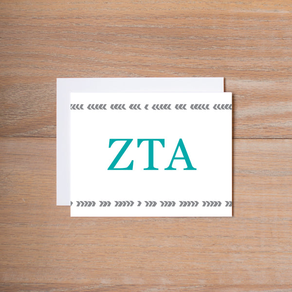 Zeta Tau Alpha Boho Sorority Note Cards