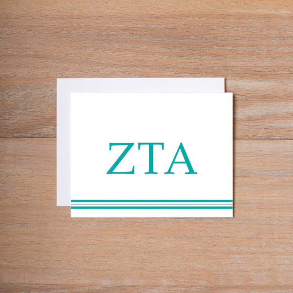 Preppy sorority note cards (set of 10—traditional sorority colors)