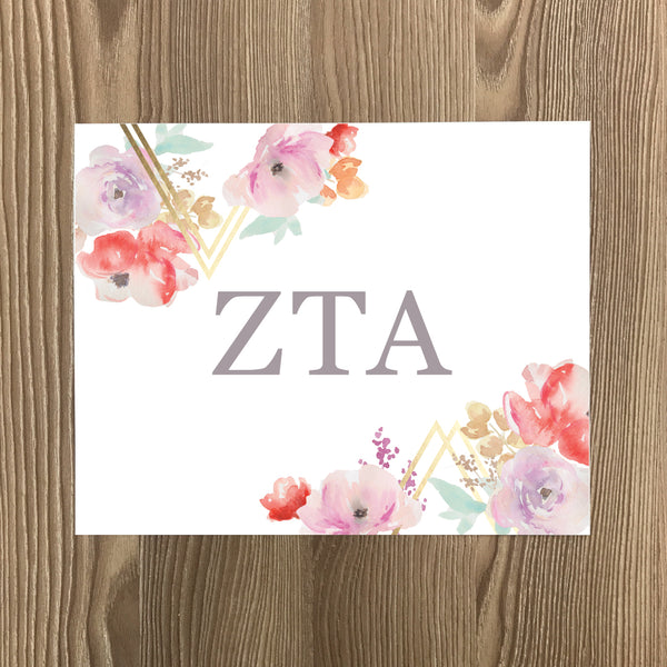 Zeta Tau Alpha Geometric Bouquet Art Print