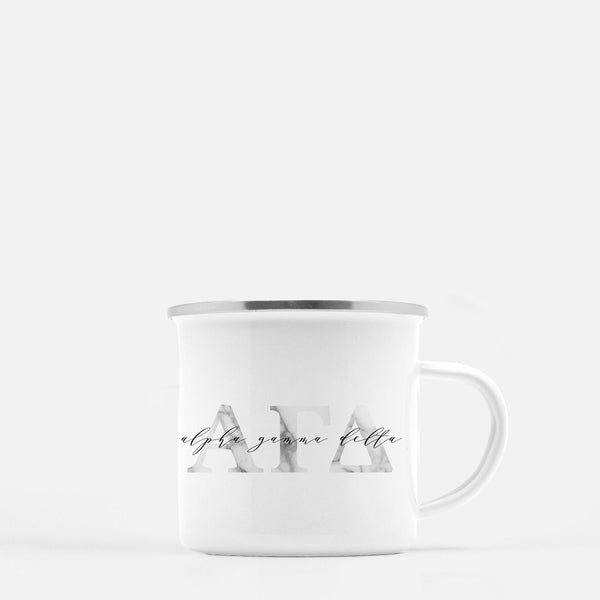 Alpha Gamma Delta Metal Sorority Camp Mug