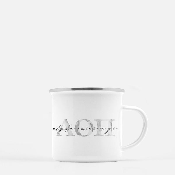 Alpha Omicron Pi Metal Sorority Camp Mug