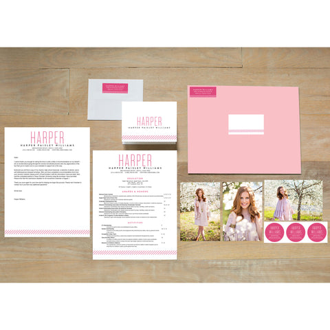 Big Name Sorority Packet shown in Peony & Black