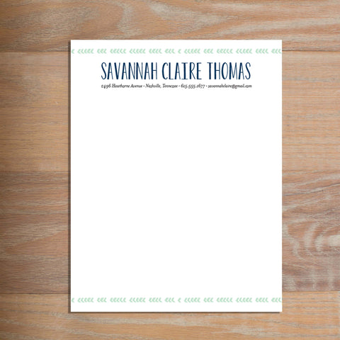 Boho Chic social resume letterhead without formatting shown in Green Tea & Night