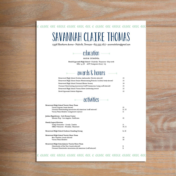 Boho Chic Fully-Formatted Sorority Resume shown in Green Tea & Night