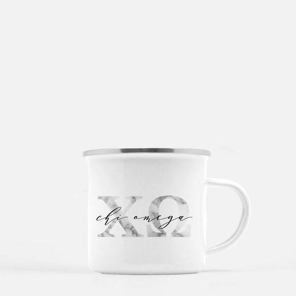Chi Omega Metal Sorority Camp Mug
