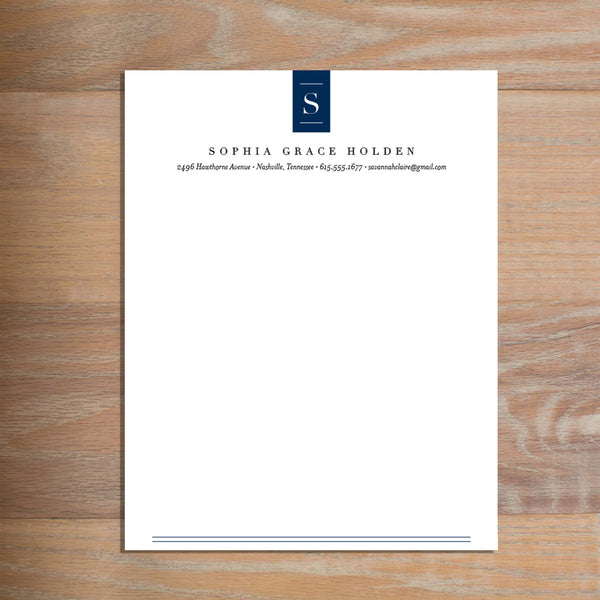 Chic Initial social resume letterhead without formatting shown in Night