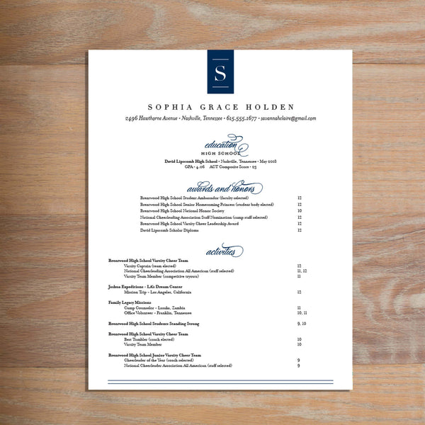 Chic Initial social resume letterhead with full formatting shown in Night