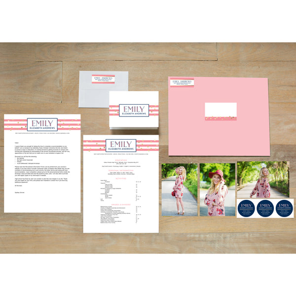 Confetti Stripes sorority packet shown with Blossom presentation envelope