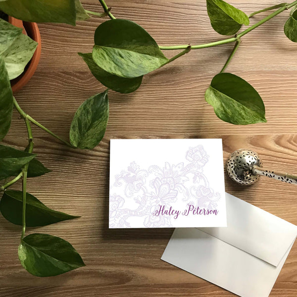 Delicate Lace Folded Note Cards