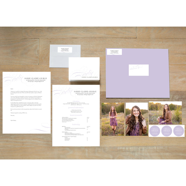 Elegant Script sorority packet shown with Plum presentation envelope