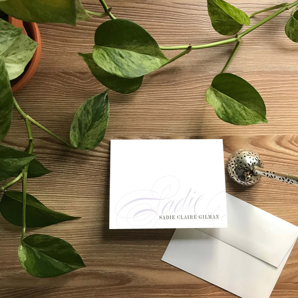 Elegant Script Folded Note Cards