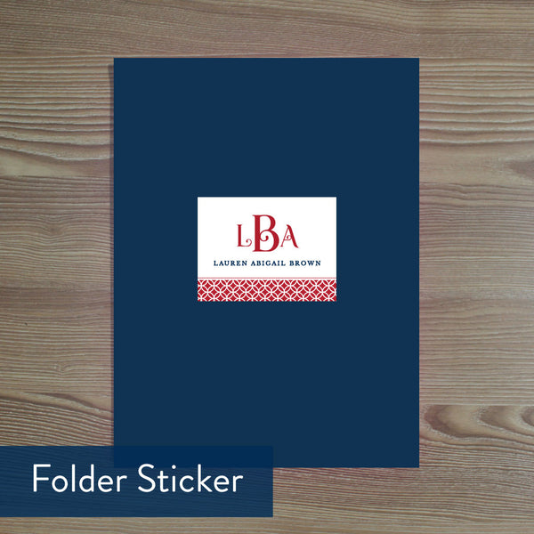 Red Lattice Monogram folder sticker