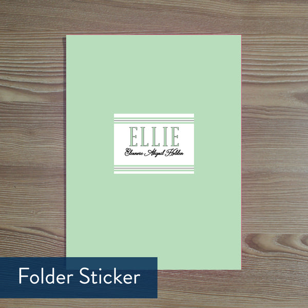 Preppy Name folder sticker