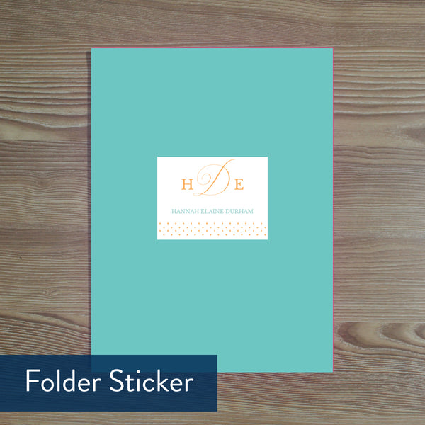Sweet Monogram folder sticker