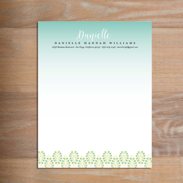 Fresh Paisley social resume letterhead without formatting shown in Sea Glass