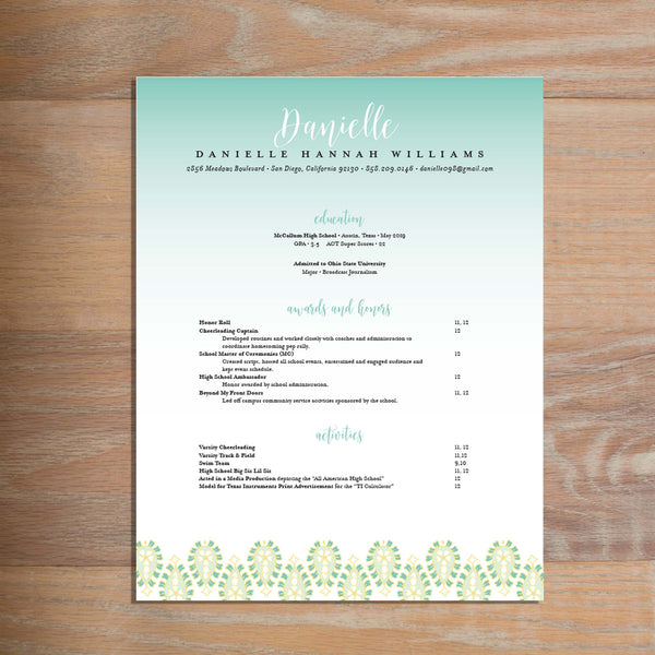 Fresh Paisley social resume letterhead with full formatting shown in Sea Glass