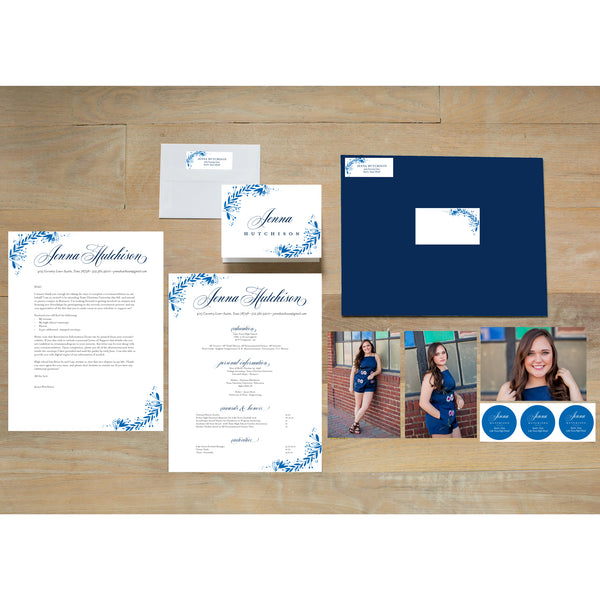 Garden Branches sorority packet shown with Night presentation envelope