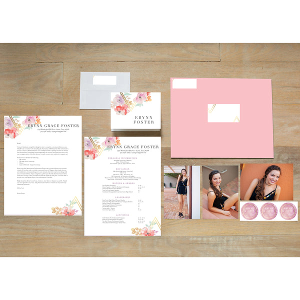 Geometric Bouquet sorority packet shown with Blossom presentation envelope