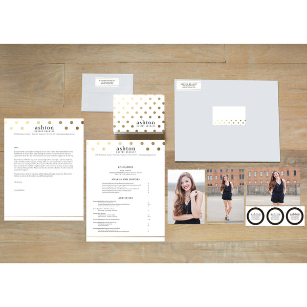 Golden Dots sorority packet shown with presentation envelope