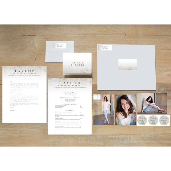 Golden Marble sorority packet shown with presentation envelope