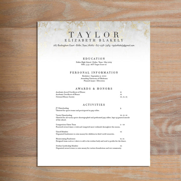 Golden Marble Fully-Formatted Sorority Resume